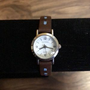 TOKYOBAY white face watch with brown leather band